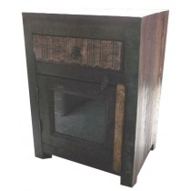Indian bedside table with colored recovered wooden paneling