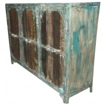 Indian sideboard with colored recovered wooden panels