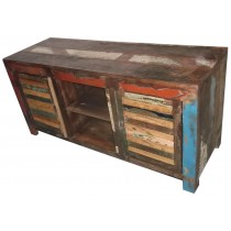 TV unit with reclaimed wood