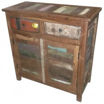 Indian sideboard with colored recovered wood