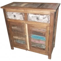 Indian cupboard with colored reclaimed wood