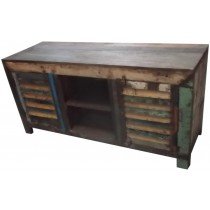 TV unit with colored reclaimed wood
