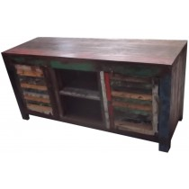 Colored reclaimed wooden TV unit