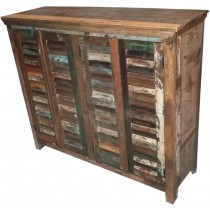 Cupboard with colored recovered wood from India