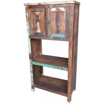 Indian bookcase with colored recovered wood
