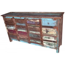 Cupboard with colored recovered wooden drawers
