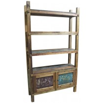Recycled wooden open bookcase