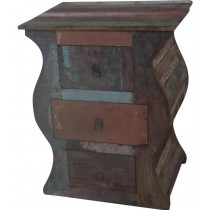 Indian recycled wooden bedside table