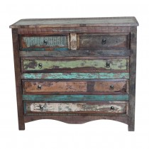 Ethnic chest of drawers with recovered wood from India