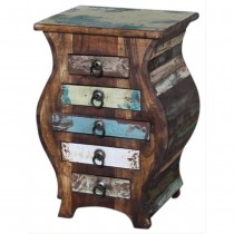 Indian bedside table in recovery wood rounded