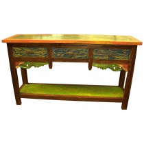 Console in recylced wood multicolored