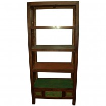 Open carved bookcase in recycled teak
