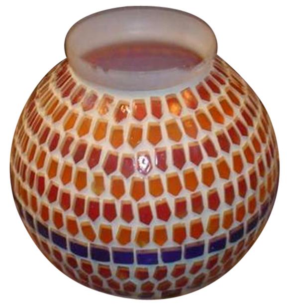 vaso etnico in vetro e resina
