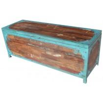 Cassapanca con legno di recupero e ferro